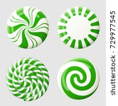 christmas round candy set.... | Shutterstock .eps vector #729977545