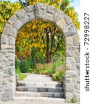 Stone Archway In Botanical...