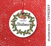 vector christmas vintage label... | Shutterstock .eps vector #729982819