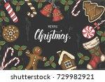 festive vintage christmas... | Shutterstock .eps vector #729982921