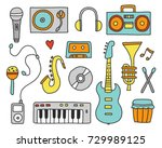 set of hand drawn doodle with... | Shutterstock .eps vector #729989125