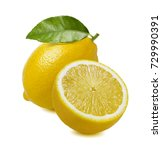 lemon whole and half isolated...   Shutterstock . vector #729990391