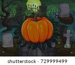 halloween pumpkin. on cemetery...   Shutterstock .eps vector #729999499