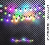 christmas lights festive... | Shutterstock .eps vector #730006195