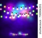 christmas lights festive... | Shutterstock .eps vector #730006201