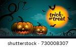 happy halloween pumpkins  bats...   Shutterstock .eps vector #730008307