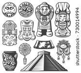 vintage monochrome maya... | Shutterstock .eps vector #730014994