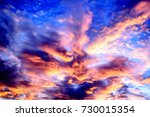 dramatic sky in evening during... | Shutterstock . vector #730015354