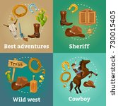 colorful wild west square... | Shutterstock .eps vector #730015405
