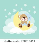baby bear sleeping on the moon  | Shutterstock .eps vector #730018411