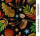 embroidery autumn seamless... | Shutterstock .eps vector #730020691