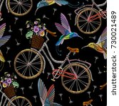 embroidery bicycle violets... | Shutterstock .eps vector #730021489