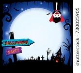 happy halloween template with... | Shutterstock .eps vector #730025905