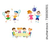vector flat summer camp kids... | Shutterstock .eps vector #730030501