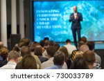 audience listens to the... | Shutterstock . vector #730033789