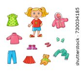 vector flat cartoon cute girl... | Shutterstock .eps vector #730034185