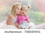 little sisters  girls having... | Shutterstock . vector #730035541