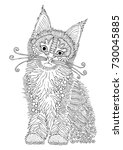 hand drawn cat. sketch for anti ... | Shutterstock .eps vector #730045885