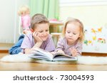 brother and his little sister... | Shutterstock . vector #73004593