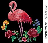 flamingo and flowers embroidery ... | Shutterstock .eps vector #730048861