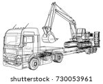 low bed truck trailer and... | Shutterstock .eps vector #730053961