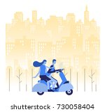 a man and woman are go to... | Shutterstock .eps vector #730058404