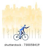 a man is go to working by... | Shutterstock .eps vector #730058419