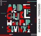 english alphabet vector ... | Shutterstock .eps vector #730062085