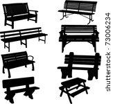bench silhouette 2   vector | Shutterstock .eps vector #73006234