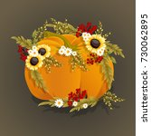 hand drawn pumpkin with flowers