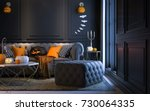 halloween party at night  in...   Shutterstock . vector #730064335