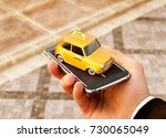 smartphone application of taxi... | Shutterstock . vector #730065049