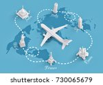 worldwide flights and delivery... | Shutterstock . vector #730065679