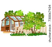 the old greenhouse with glass... | Shutterstock .eps vector #730067434