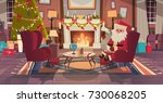 santa claus in living room... | Shutterstock .eps vector #730068205