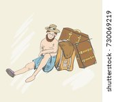 traveler guide sit on ground. a ...   Shutterstock .eps vector #730069219
