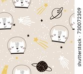 Stock vector seamless childish pattern with cute cats astronauts creative nursery background perfect for kids 730072309