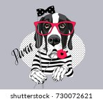 great dane dog in a striped t... | Shutterstock .eps vector #730072621