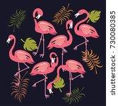 flamingos set tropical bird...   Shutterstock .eps vector #730080385