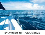 sailing in the sea on sailboat. | Shutterstock . vector #730085521