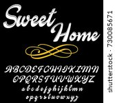vector set of handwritten abc... | Shutterstock .eps vector #730085671