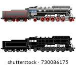 steam locomotive. drawn vintage ... | Shutterstock .eps vector #730086175