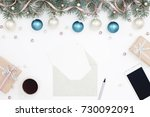 holiday workplace with gift... | Shutterstock . vector #730092091