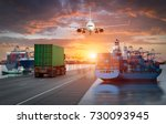 logistics and transportation of ... | Shutterstock . vector #730093945