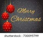 Christmas Card With Red Ball O...