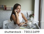 young asian female person... | Shutterstock . vector #730111699