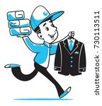 the courier of dry cleaning ... | Shutterstock .eps vector #730113511