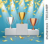 gold  silver and bronze trophy... | Shutterstock .eps vector #730114489