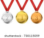 set of gold  silver and bronze... | Shutterstock .eps vector #730115059