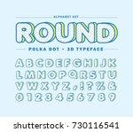 polka dot alphabet letters set. ... | Shutterstock .eps vector #730116541